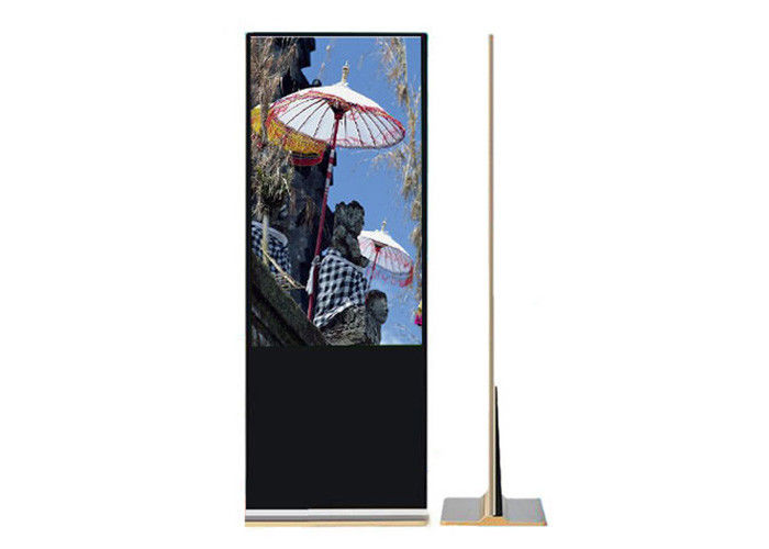 Golden Color Indoor Digital Signage Totem , Free Standing Lcd Video Player 43""